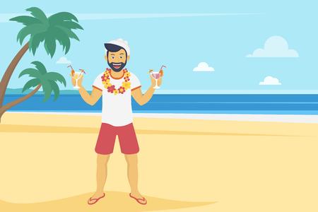 Hombre joven feliz que disfruta y bebiendo cócteles en la playa con palmeras. Ilustración del paisaje en un estilo moderno plana de las vacaciones de verano y los viajes