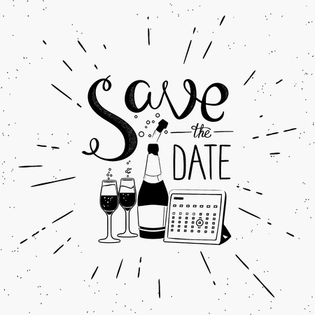 event calendar: Save the date handwritten design element with calendar and champagne. Hand drawn lettering quote on white background  for motivation and inspirational poster, invitations to the event and banners