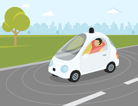 Flat flat modern illustration of self-driving intelligent driverless car goes through the city with happy passenger relaxing into the car