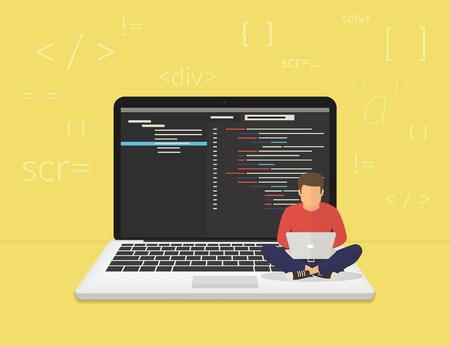 man using computer: Man is sitting on the big laptop and working. Flat modern illustration of young programmer coding a new project using computer Illustration