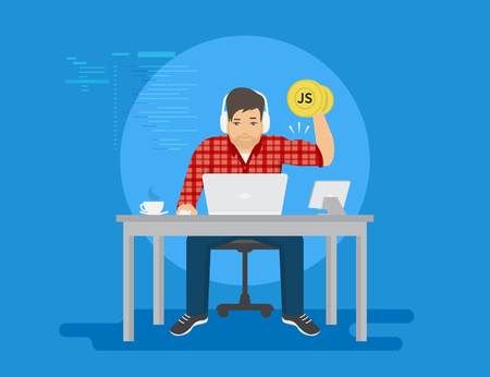 Man is working with laptop. Flat modern illustration of young programmer coding a new project using computer and tablet pc and upgrades his professional skills