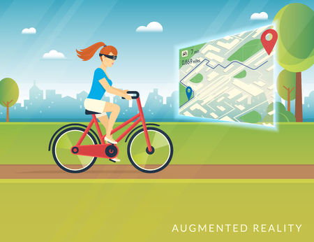futuristic woman: Young woman riding a bicycle in the park and wearing head mounted glasses to see a bicycle path on the mobile augmented reality map. Conceptual futuristic illustration of using portable screens