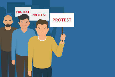 demonstrator: Demonstration and protest concept crowd of angry people with banners. Flat illustration of political protesters and politic crisis poster, revolution placard concept Illustration