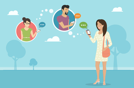 sharing: Smiling woman holds the smartphone in her hand and sending messages to friends via messenger app. Flat illustration of instant texting and data sharing