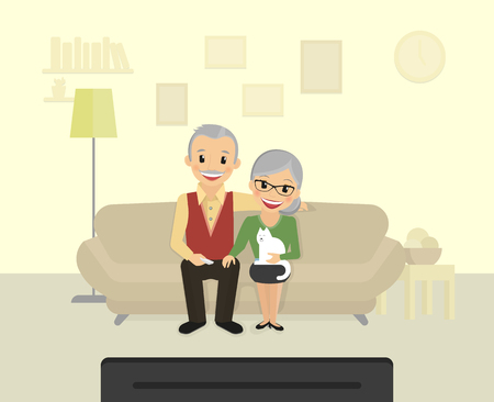 family man: Happy grandparents sitting at home and watching a tv.  Flat illustration of old people leisure time