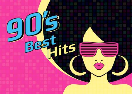 Los mejores éxitos de los años 90 illistration con la mujer que llevaba gafas de discoteca en el fondo de color rosa. ejemplo brillante para el cartel retro del partido