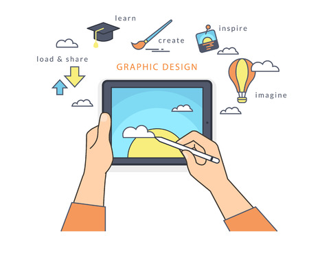 tablet pc in hand: Human hand holds a tablet pc and draws a picture on the screen. Flat line contour illustration of designer working process with symbols such as learning and sharing, inspiration and imagination