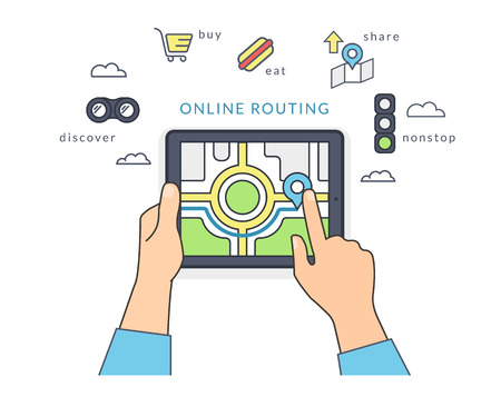 tablet pc in hand: Human hand holds a tablet pc and finds a guide on the screen. Flat line contour illustration of online routing using mobile app to find place for eating, shopping and no traffic