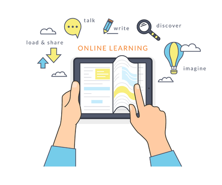 e learn: Human hand holds a tablet pc and reading ebook on the screen. Flat line contour illustration of online reading book and learning with symbol such as talk and share, read and imagine