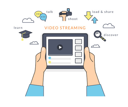 watching: Human hand holds a tablet pc and watching a video online on the screen. Flat line contour illustration of online video streaming using mobile app to learn, talk and publish own video content Illustration