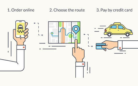 ordering: Infographic flat line illustration of mobile app for ordering taxi. Contour human hand holds in his hand smartphone and booking taxi, choosing the route and doing payment by credit card.