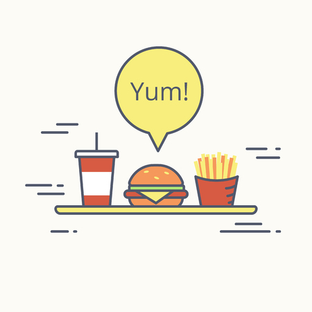 milk shake: Big burger with french fries and milk shake on the tray. Flat line illustration of junk food with yellow speech bubble and text yum isolated on white