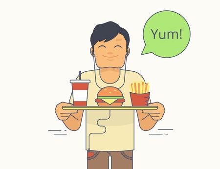 pan frances: Individuo feliz que sostiene una bandeja con gran hamburguesa, papas fritas y un batido y va a comer. Aislado en blanco con la burbuja verde y el texto yum Vectores