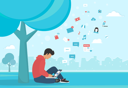 man using laptop: Young man sitting in the park under a tree and working with laptop. Flat modern illustration of social networking, searching and sending email and texting to friends Illustration