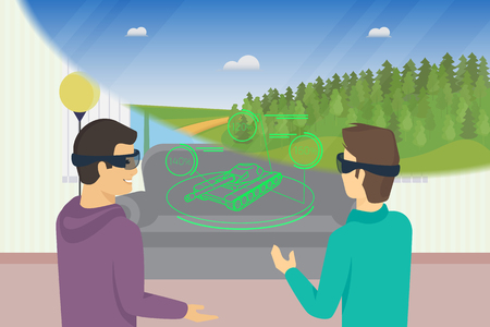virtual reality simulator: Happy guys is playing video game using head-mounted device for augmented and virtual reality. Conceptual illustration of people look at tank hologram and nature landscape through headset