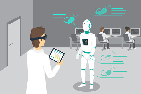 ar: Programming engineer sets a robot using head-mounted device for augmented and virtual reality. Conceptual illustration of man looking at the robot and seeing his parameters through the headset