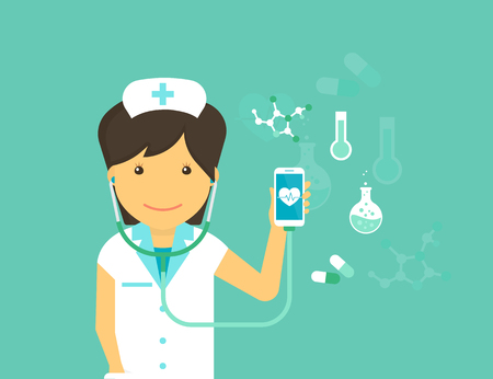 medical emergency: Digital health flat modern illustration of mobile medicine with female doctor wearing uniform and smiling and smartphone with medicine symbols around such as blood pressure, pulse and pills