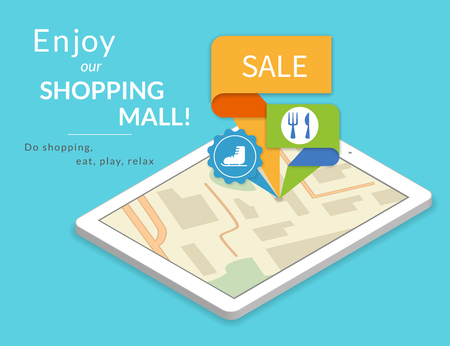 multi media: Mobile marketing and personalizing. Tablet pc with map and tags pined in