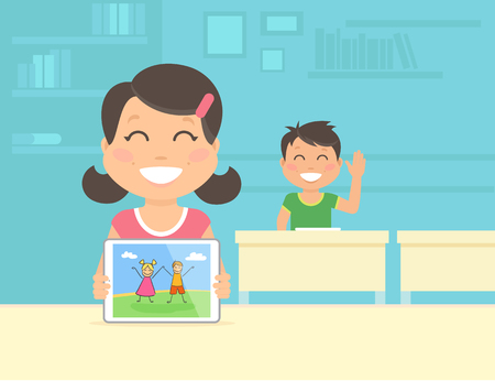 school kids: Young girl show her graphic illustration on the tablet pc. Flat concept illustration of modern school education with tablet pc and digital technologies Illustration