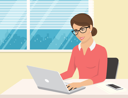 Business woman wearing rose shirt sitting in the office and working with laptop. Flat illustration of business people at work desk