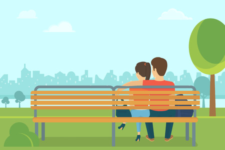 at leisure: Couple outdoors in the park sitting on the bench and looking at the city. Flat romantic illustration of young people leisure time