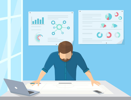 project manager: Professional architect or project manager is planning the work or drawing a building scheme. Flat illustration of business man stands near the workdesk and looks at the paper on the table