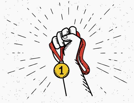 Menschliche Vintage Hand hält rotes Band mit goldenen Medaille. Olumpic Spiele Konzept Emblem Design im Retro-Stil auf weißem Hintergrund mit Sunburst-Strahlen isoliert