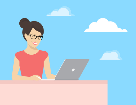 young woman sitting: Young woman sitting with laptop and smiling. Flat concept illustration of learning and working via internet and social networks