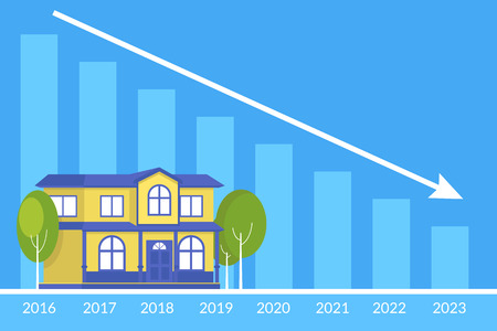 subprime mortgage crisis: Real estate concept of the house and loan payment graph behind. Flat illustration of the debt payments decreasing year by year Illustration