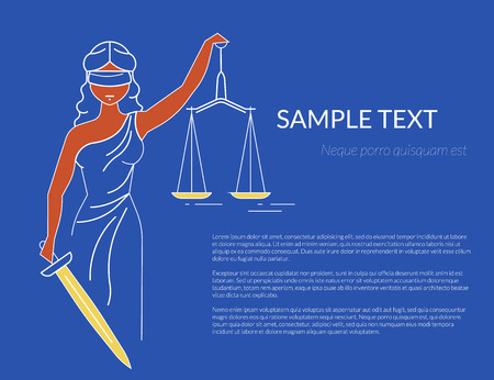 handcuffs woman: Themis with holding a scale in her hand. Oulined conceptual illustration of goddess of justice with copy space on blue background. Transparent femida design