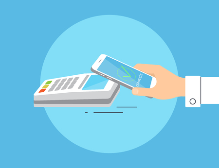Flat illustration of mobile payment via smartphone. Human hand holds a smartphone and doing payment by credit card wireless connecting to the payment terminal