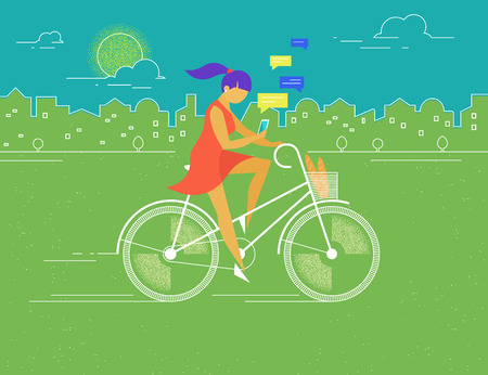 walk: Young woman rides white outlined bicycle in the park in spring season and texting messages to friends . Flat color illustration of teenage healthy leisure and freedom