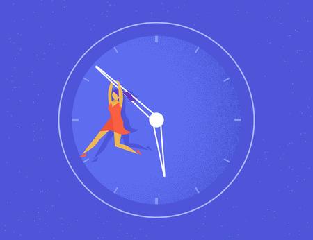 La mujer cuelga sobre la flecha grande de la guardia de la vida. concepto plana ilustración de las mujeres que intentan detener el tiempo y no se conviertan en edad