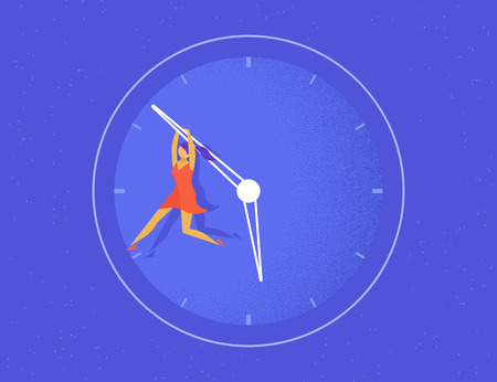 slow: Woman hangs on the big arrow of the life watch. Flat concept illustration of women trying to stop time and not become old
