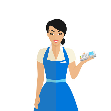 Friendly female shop assistant holding payment terminal in her hand to provide payment by credit card pincode. Flat modern illustration of smiling woman wearing uniform isolated on white background Illustration