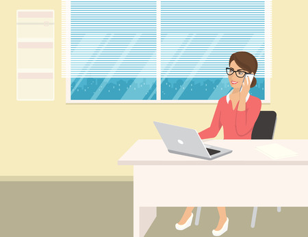 woman in office: Business woman wearing rose shirt sitting in the office and talking by cellphone. Flat illustration of business people at work desk