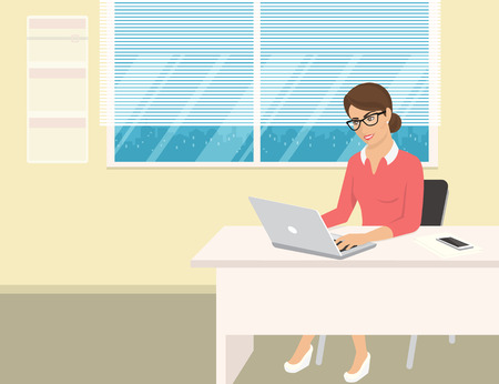 confidant: Business woman wearing rose shirt sitting in the office and working with laptop. Flat illustration of business people at work desk