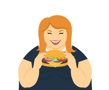 eating habits: Happy fat woman eating a big tasty hamburger. Flat concept illustration of bad habits and people eating burgers and junk food isolated on white background
