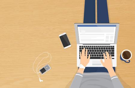 Femme assise sur le plancher texturé bois et de travailler avec un ordinateur portable dans les réseaux sociaux. illistration réaliste top vue des personnes de détente à la maison utilisant un ordinateur portable et en tapant