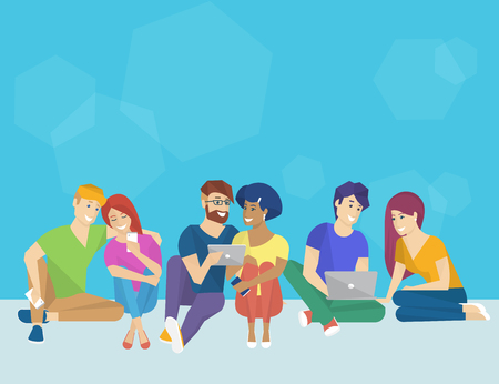 electronic tablet: Group of creative people using smartphone, laptop and tablet pc sitting on the floor and talking each other. Flat concept illustration of creative thinking and working with modern electronic devices