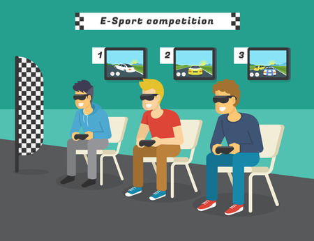 ar: E-sport race competition with virtual reality glasses. Guys playing virtual car race championship and displays behind them showing game to public. Concept illustration of future gaming technologies Illustration