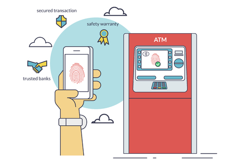 fingerprint card: Mobile access to ATM via smartphone using fingerprint identification. Flat line contour illustration of payment via smartphone app Illustration