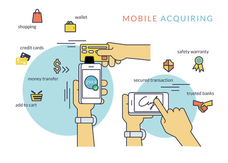 acquiring: Mobile acquiring with signature via smartphone. Flat line contour illustration of payment via smartphone app