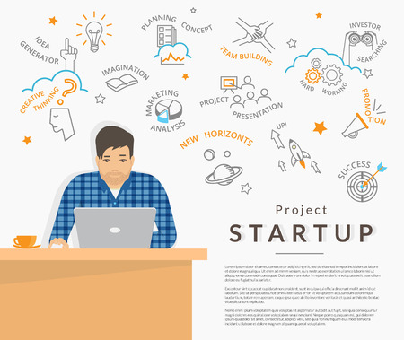 man illustration: Man sitting at his work desk and planning a project startup. Business symbols behind him such as idea, teamwork, investor search, presentation and promotion. Flat illustration of startup strategy