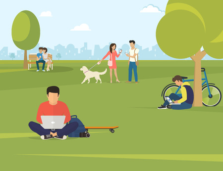 woman using laptop: Flat illustration of people using gadgets sitting on the grass in the park. Young guys are using laptop, woman talking her friend and couple sitting on the bench and using smartphone to send messages
