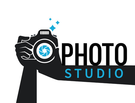 photo camera: Photographer hands with camera icon or logo template. Flat illustration of lens camera shooting macro image with flash and text ideal photo