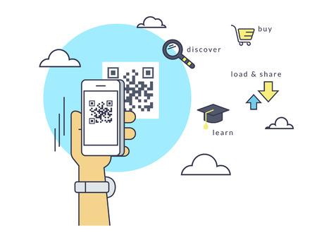 Man scanne le code QR via l'application smartphone puis en suivant le lien vers la page Web. Flat contour illustration ligne de balayage de codes à barres via l'application Smartphone Banque d'images - 55640182