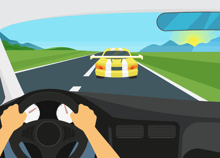 car speed: Man is driving racing speed car. Human hands driving a car and yellow car is going forward it. Flat illustration of car interior on the speed racetrack