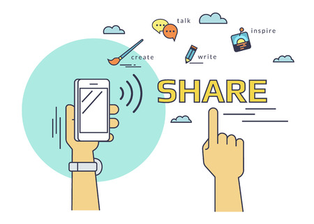 nfc: Flat line contour illustration of human hand holds a smartphone and  sharing data and mobile apps via nfc function. Illustration on red background Illustration