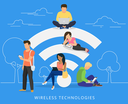Young man sitting on the wi-fi white sign and using laptop, women reading news on tablet pc, guy holds smartphone and teenager sitting with laptop. Flat illustration of social networking with gadgets on blue background Stock Illustratie